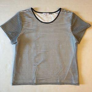 Calvin Klein Black White Striped Top XL